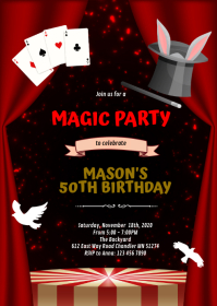 Cute magic boy party invitation A6 template