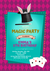 Cute magic girl party invitation A6 template