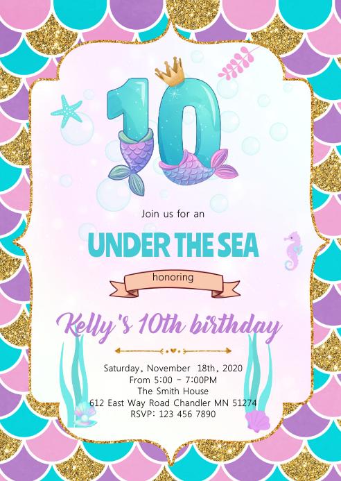 Cute mermaids 10th theme invitation A6 template
