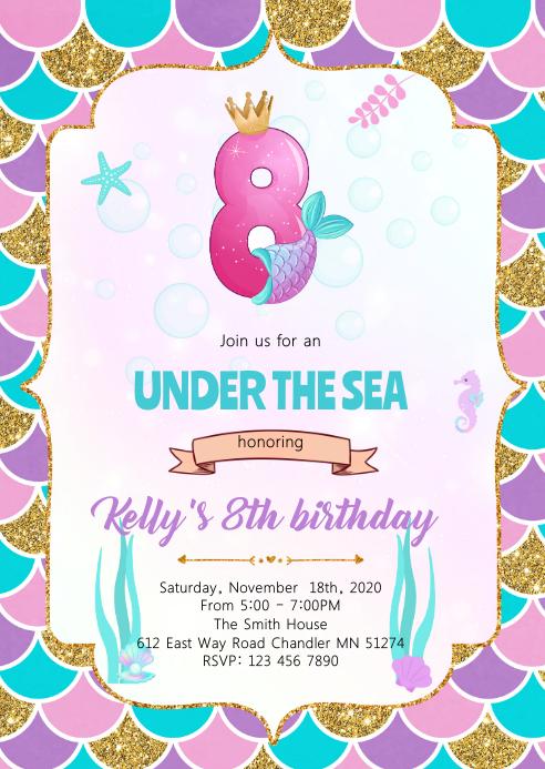 Cute mermaids 8th theme invitation A6 template