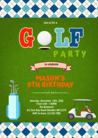 Cute mini golf party invitation A6 template