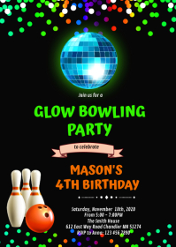 Cute neon bowling birthday invitation A6 template