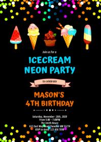 Cute neon ice cream birthday invitation A6 template