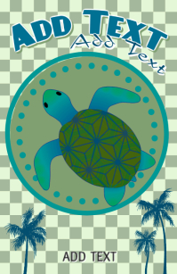 cute ocean animal - blue & green sea turtle with palm trees