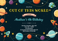 Cute outer space birthday party invitation A6 template