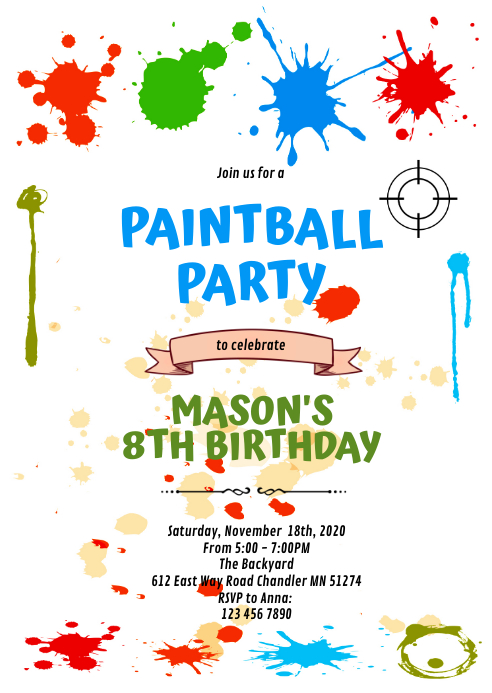 Cute paintball army party invitation A6 template