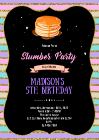 Cute pancakes and pjs party theme invitation A6 template