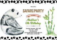 Cute panda party invitation A6 template
