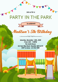 Cute party at the park party Invitation A6 template