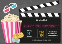 Cute pink movie birthday party invitation A6 template