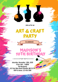 Cute pottery birthday party invitation A6 template