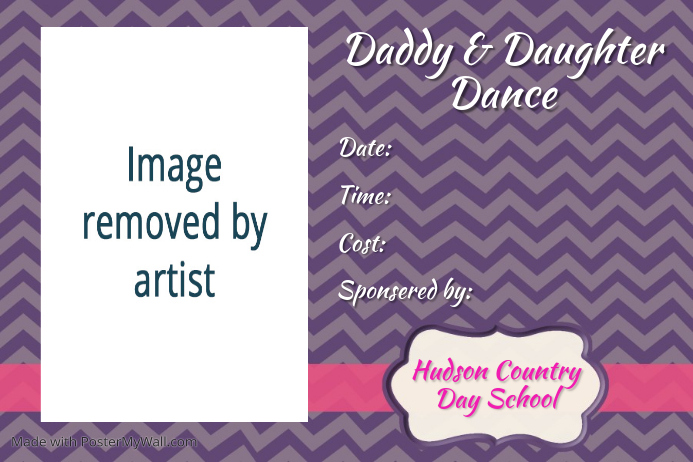Cute Preppy Father Daughter Dance Party Invitation Flyer Template