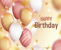 Cute Realistic Happy Birthday Rectángulo Mediano template
