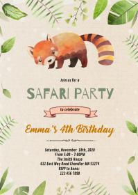 Cute red panda shower invitation A6 template