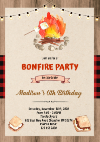 Cute red plaid smore bonfire party invitation A6 template