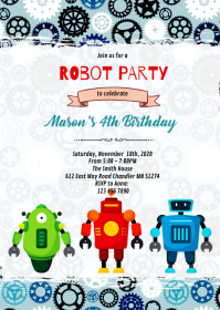 Cute robot party invitation A6 template