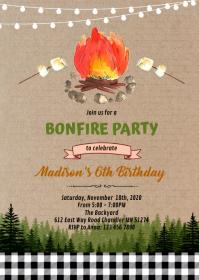Cute s'more bonfire party invitation A6 template