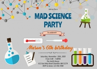 Cute science party invitation A6 template
