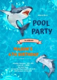 Cute shark birthday invitation A6 template