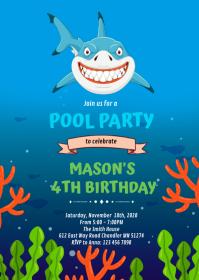 Cute shark birthday invitation