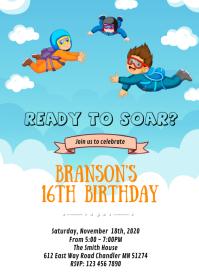 Cute skydiving birthday card