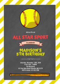 Cute softball invitation A6 template