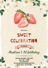 Cute strawberry birthday card