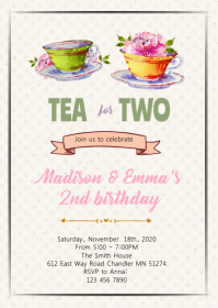 Cute tea for two girl party invitation