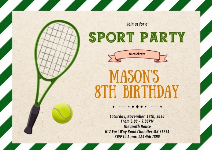Cute tennis sport birthday invitation A6 template