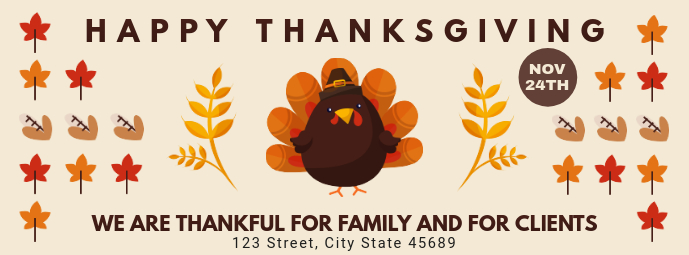 Cute Thanksgiving Wish Facebook Cover Template