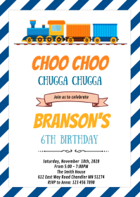 Cute train theme party invitation