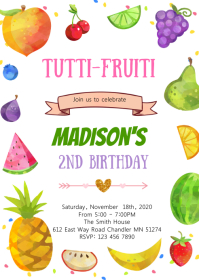 Cute tutti fruity party theme invitation