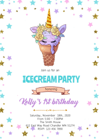Cute unicorn ice cream party invitation A6 template