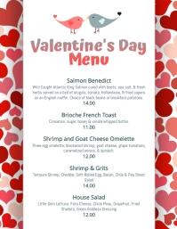 Cute Valentines Day Menu Template