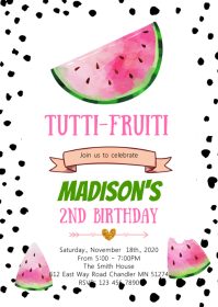Cute watermelon birthday invitation