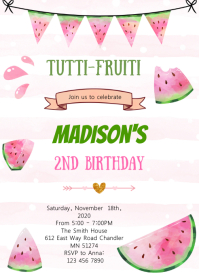 Cute watermelon theme party invitation A6 template