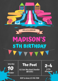 Cute waterpark birthday party invitation A6 template