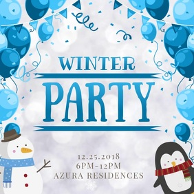 Cute Winter Party Invitation Video