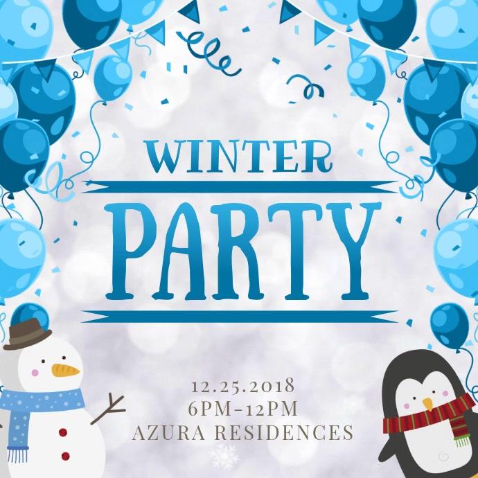 Cute Winter Party Invitation Video