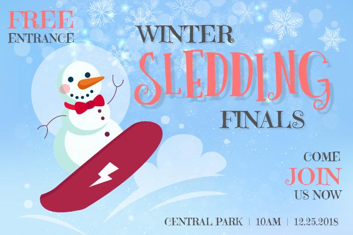 Cute Winter Sledding Poster