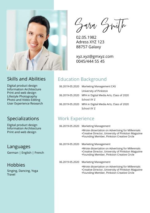 Cv Lebenslauf Resume Job Curriculum Vitae Template Postermywall
