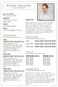 Cv Resume template with photo