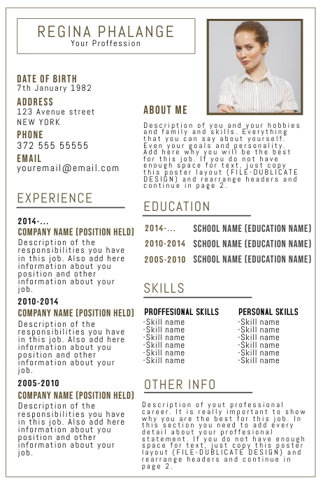 Copy Of Cv Resume Template With Photo Postermywall