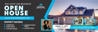 Cyan and Black Real Estate Open House Banner Cartel de 2 × 6 pulg. template