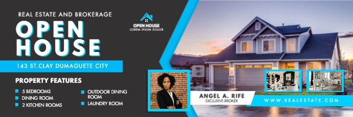 Cyan and Black Real Estate Open House Banner template
