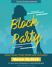 Cyan Block Party Invitation Flyer Iflaya (Incwadi ye-US) template