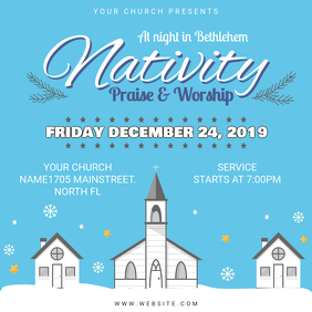 Cyan Church Christmas Service Square Invitation