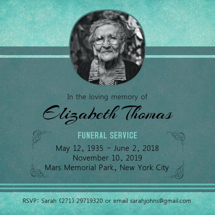 Cyan Funeral Service Card