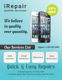 Cyan Mobile and iPhone Repair Flyer Free Template