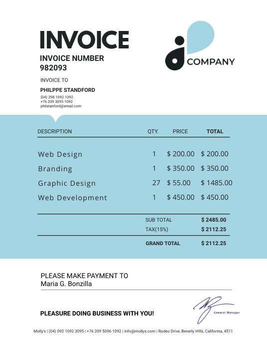 Cyan Modern Invoice Sample Pamflet (Letter AS) template